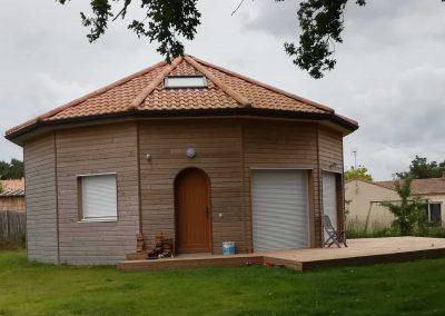 Maison à ossature bois octogonale
