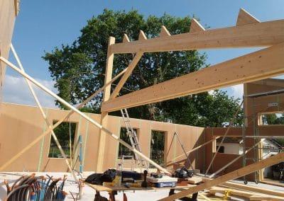Montage maison ossature bois sur chantier